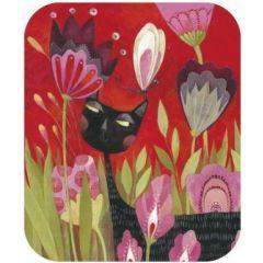 ansichtkaart met envelop - tv kaart van aurelie blanz - kat en bloemen