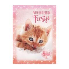6 uitnodigingskaarten met envelop - kitten - welkom op mijn feestje