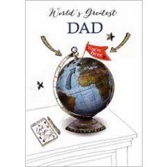 vaderdagkaart - world's greatest dad - wereldbol