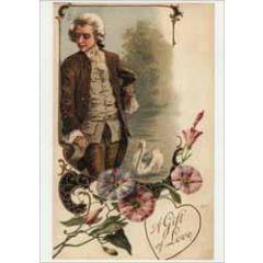 retro ansichtkaart - a gift of love - man en bloemen
