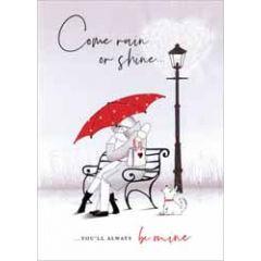 luxe valentijnskaart - come rain or shine.. you'll always be mine