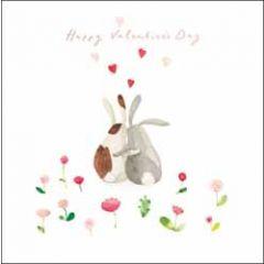 luxe valentijnskaart woodmansterne - happy valentine's day - konijnen