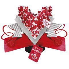 3D valentijnskaart - pop ups - love you happy valentine's day - hartjes
