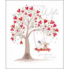 grote wenskaart woodmansterne - to my lovely wife - you make my heart smile
