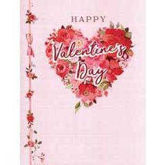 3d pop-up valentijnskaart A4 - happy valentine's day - hart van bloemen