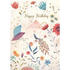 grote verjaardagskaart A4 - izou - happy birthday - vogel en bloemen