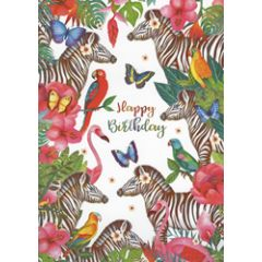 grote verjaardagskaart A4 - mila - happy birrthday - zebra flamingo papegaai