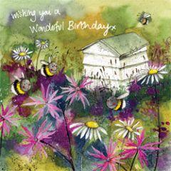wenskaart alex clark - wishing you a wonderful birthday - bijenkast