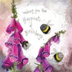 wenskaart alex clark - wishing you the happiest of birthdays - bloemen met bijen