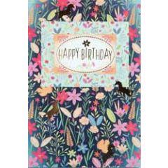 verjaardagskaart busquets - happy birthday - bloemen en eenhoorn
