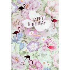 verjaardagskaart busquets - happy birthday - bloemen en flamingo