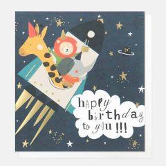 verjaardagskaart caroline gardner - happy birthday to you - dieren in raket