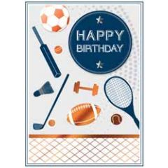 verjaardagskaart copper - happy birthday - tennis voetbal golf rugby
