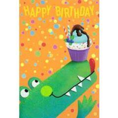 verjaardagskaart busquets - happy birthday - krokodil