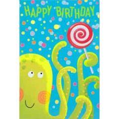 verjaardagskaart busquets - happy birthday - inktvis met lolly