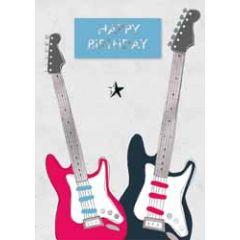 verjaardagskaart - happy birthday - gitaar