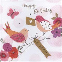 wenskaart gold leaf - happy birthday to you - vogels