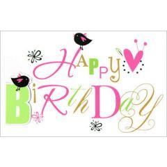 verjaardagskaart - happy birthday - vogeltjes