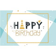 verjaardagskaart - happy birthday - blauw goud
