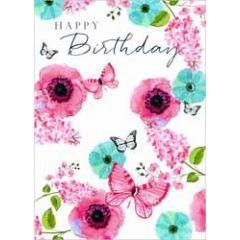 verjaardagskaart - happy birthday - bloemen en vlinders