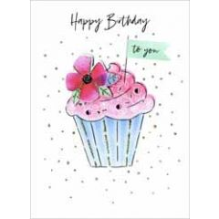 verjaardagskaart - happy birthday to you - cupcake met bloem