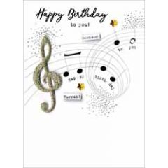 verjaardagskaart - happy birthday to you - notenbalk muziek