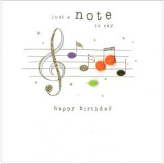 verjaardagskaart - just a note to say happy birthday - notenbalk muziek
