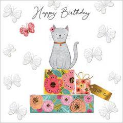 verjaardagskaart second nature - happy birthday - kat op cadeautjes