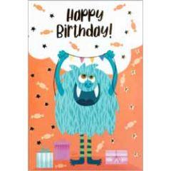verjaardagskaart busquets - happy birthday - monster met slinger