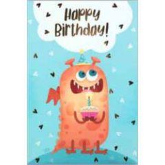 verjaardagskaart busquets - happy birthday - monster met cupcake