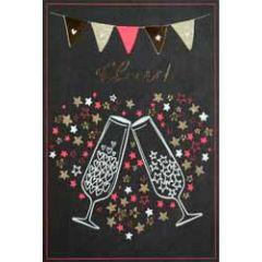felicitatiekaart busquets fluor - cheers - champagne en hart