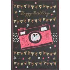 verjaardagskaart busquets fluor - happy birthday - fototoestel camera