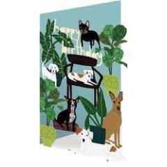 lasergesneden verjaardagskaart roger la borde - happy birthday - honden