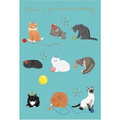 verjaardagskaart roger la borde - have a purrfect birthday - katten