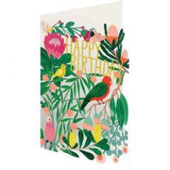 lasergesneden verjaardagskaart roger la borde - vogels en bloemen