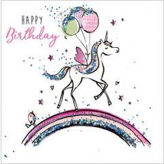 verjaardagskaart sparkle dust - happy birthday - eenhoorn