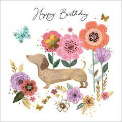 verjaardagskaart second nature - happy birthday - teckel en bloemen