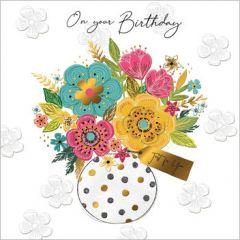 verjaardagskaart second nature - on your birthday - bos bloemen in vaas