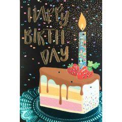 verjaardagskaart busquets - happy birthday - stuk taart