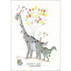 vingerafdruk poster a3 - feestvierende dinosaurussen