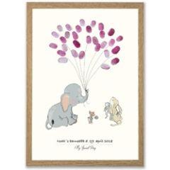 vingerafdruk poster a3 - olifant roze
