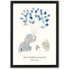 vingerafdruk poster a3 - olifant blauw
