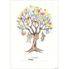 vingerafdruk poster a3 - babykleertjes aan boom