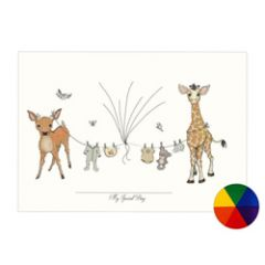 vingerafdruk poster a3 - babykleertjes giraffe