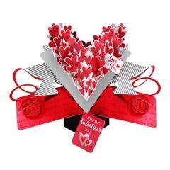 3D  valentijnskaart - pop ups - love you happy valentines day - hartjes