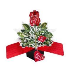 3D  valentijnskaart - pop ups - love you today and always - rode roos