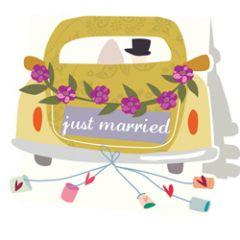 wenskaart caroline gardner - just married - auto