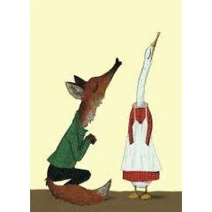 wenskaart wolf erlbruch - vos en eend - kusje
