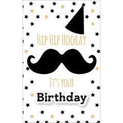 wenskaart - hip hooray it's your birthday - snor