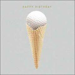 verjaardagskaart woodmansterne - happy birthday - golfbal in ijshoorntje